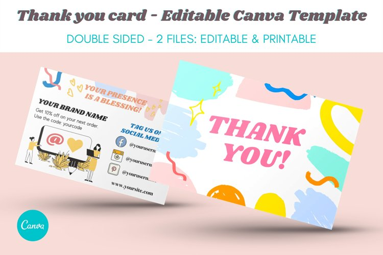 Thank You Card Template - Editable in Canva - FUN & COLORFUL