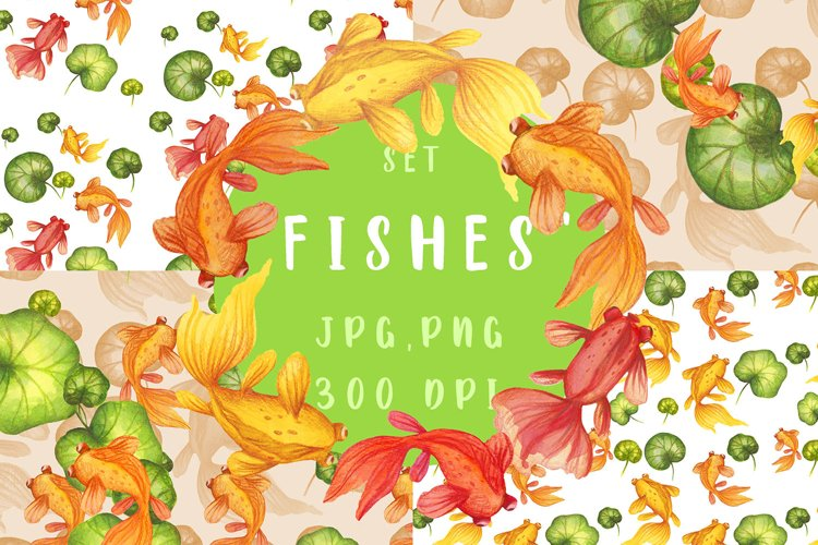 Watercolor set illustrations and patterns Azian Fishes example image 1