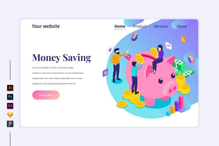 Isometric Investment, money saving Landing page illustration example image 1