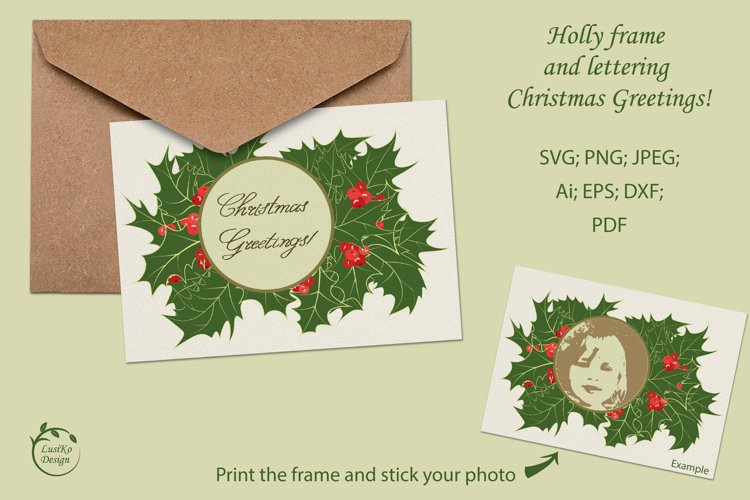 Holly frame and lettering Christmas greetings example image 1