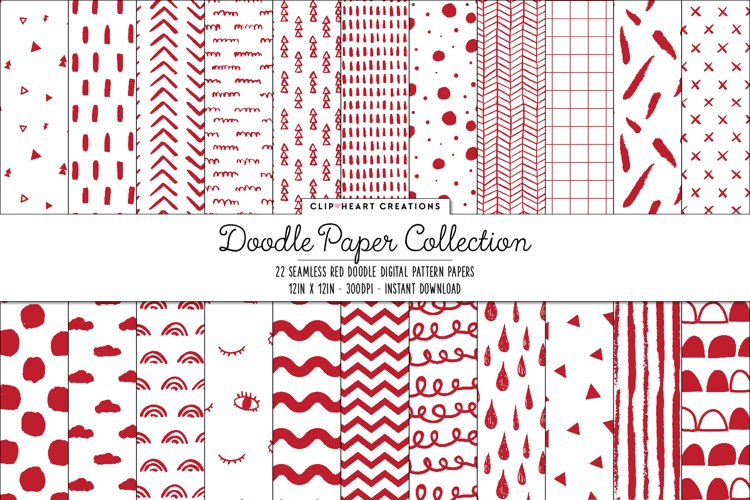 Red Doodle Seamless Digital Papers