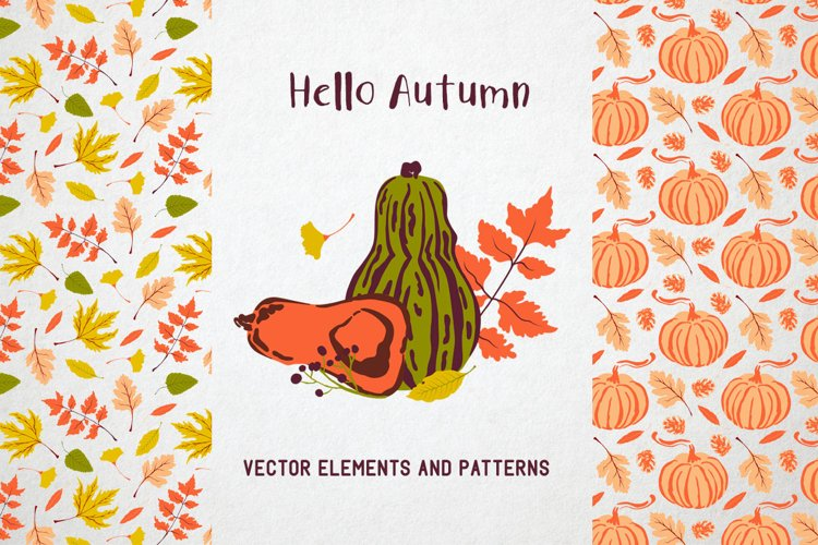 Hello autumn. Collection of vector elements and pattern example image 1