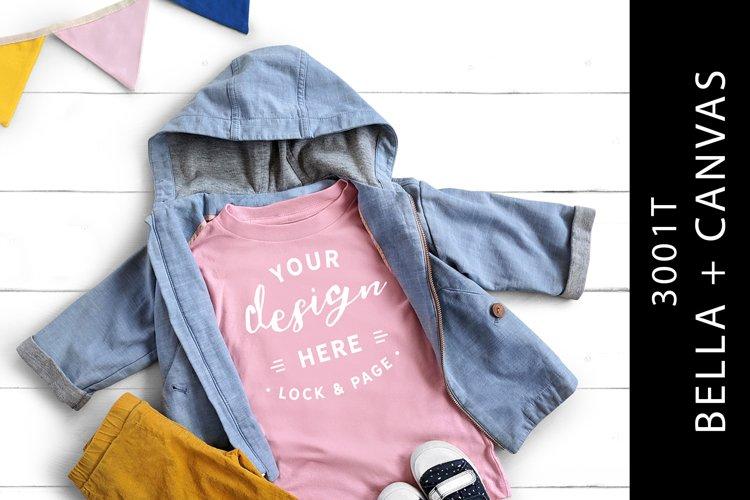 Kids Pink Bella Canvas 3001T Mockup T-Shirt Infant Flat Lay example image 1
