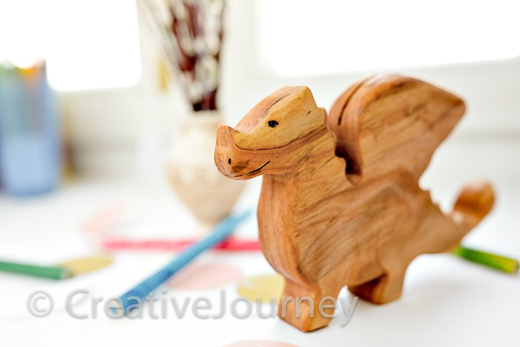 Wooden dragon close up.