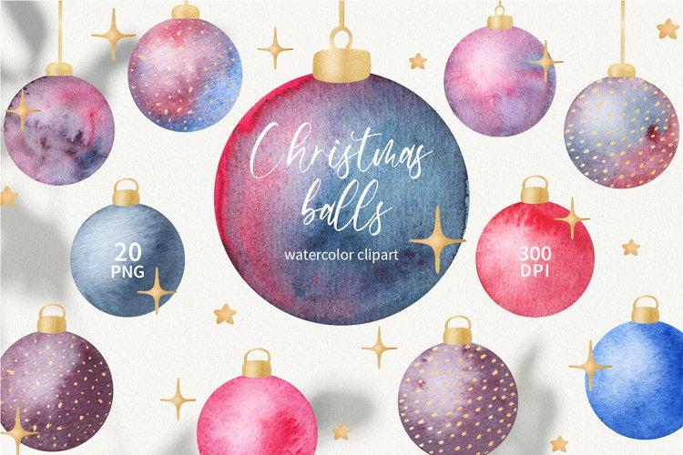 Watercolor Christmas tree balls clipart, Christmas ornaments