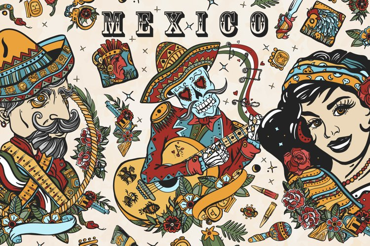 Mexico old school tattoo example image 1