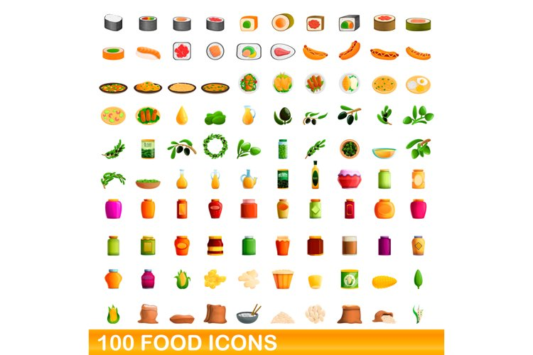 100 food icons set, cartoon style example image 1