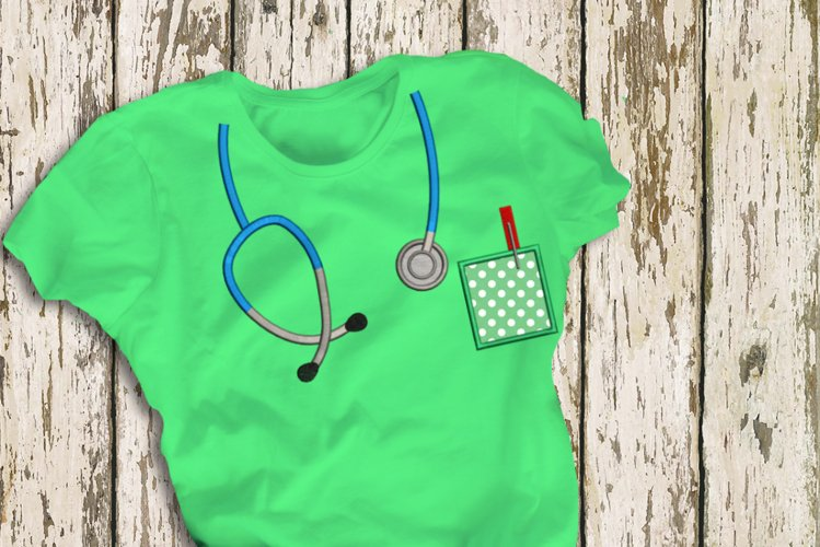 Mock Stethoscope and Pocket Applique Embroidery example image 1