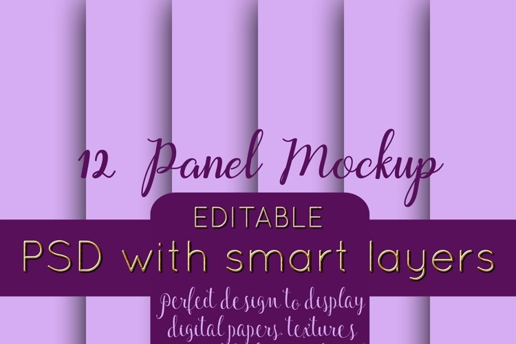12 Panel Mockup for Digital Papers, Textures & Backgrounds