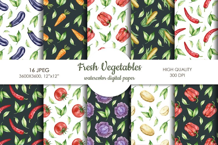 Watercolor vegetable mix digital paper pack. Food texture. example image 1