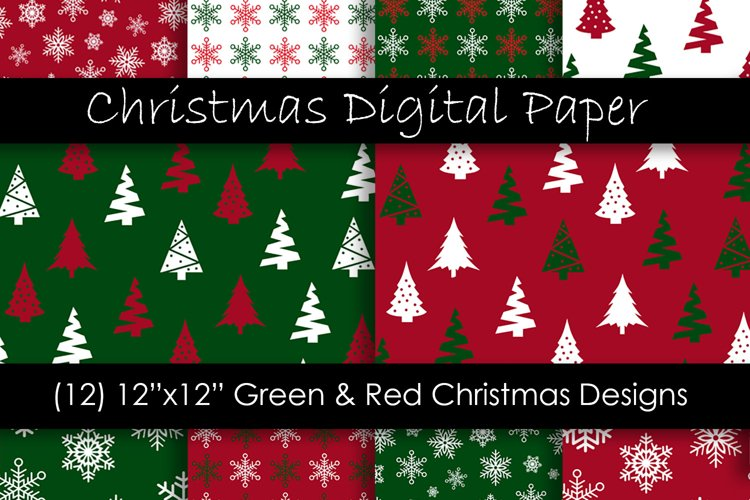 Christmas Digital Paper - Red and Green Christmas Background