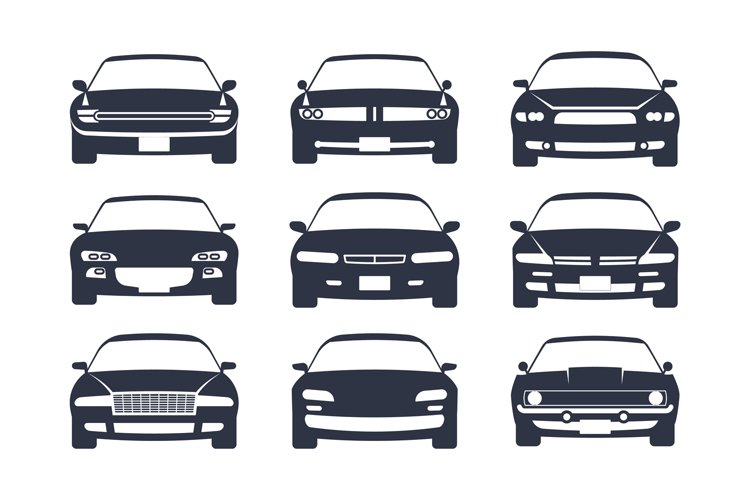 Car black silhouette. Cars front view icon set, vehicle mono example image 1