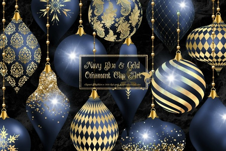 Navy and Gold Christmas Ornament Clipart