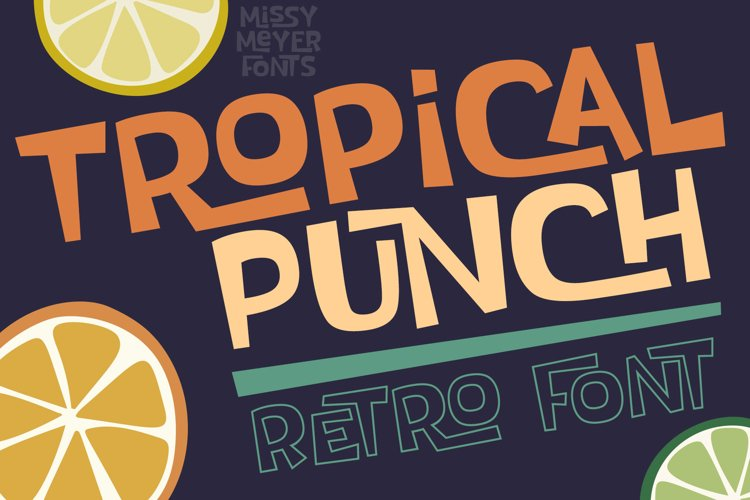 Tropical Punch - a fun retro vintage interlock font! example image 1