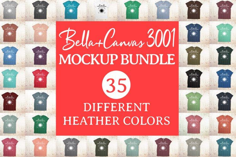 Bella Canvas 3001 T-Shirt Mock Up Bundle Heather Colors example image 1