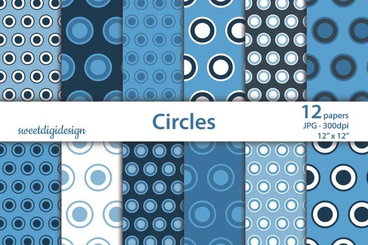 Blue polka dots and circles digital seamless pattern