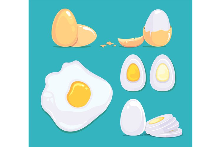 Raw and cooked eggs in different conditions. Vector cartoon example image 1