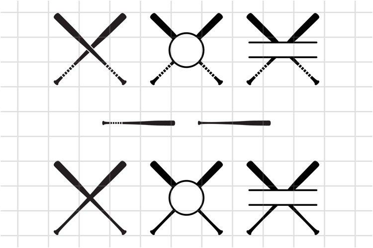 Baseball monogram SVG cut file, Criss cross softball bat.