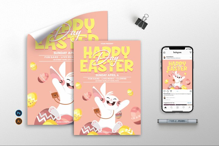Happy Easter Day Vol.2 - Flyer, Poster & Instagram AS example image 1