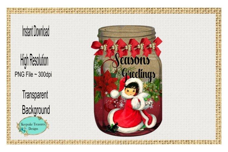 Seasons Greetings, Vintage Mason Jar, Sublimation Design