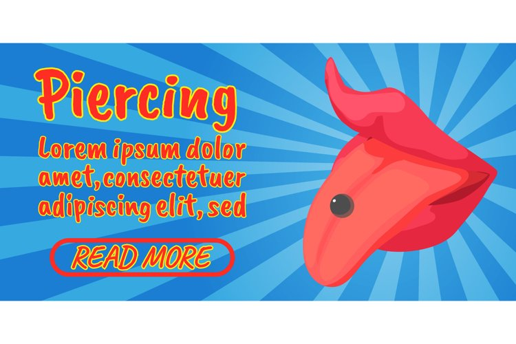 Piercing concept banner, comics isometric style example image 1