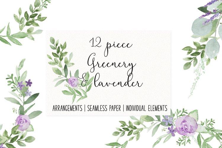 Greenery Lavender Wedding Watercolor Clip Art Illustrations
