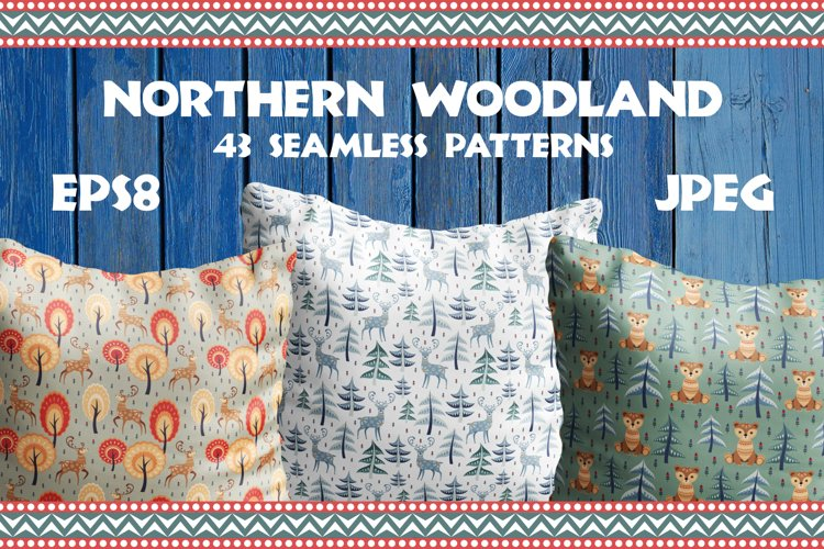 Northern woodland. Seamless patterns with cute animals.