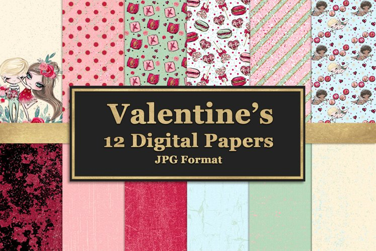 Valentine's Digital Paper Pack example image 1