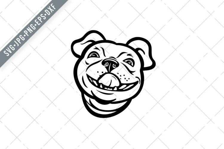 Head of Boston Terrier Breed of Dog Smiling Mascot SVG example image 1
