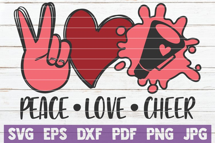 Peace Love Cheer SVG Cut File example image 1