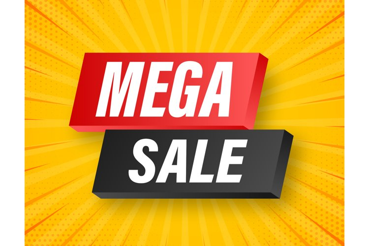 Mega sale banner design. Banner sale tag. Special offer example image 1