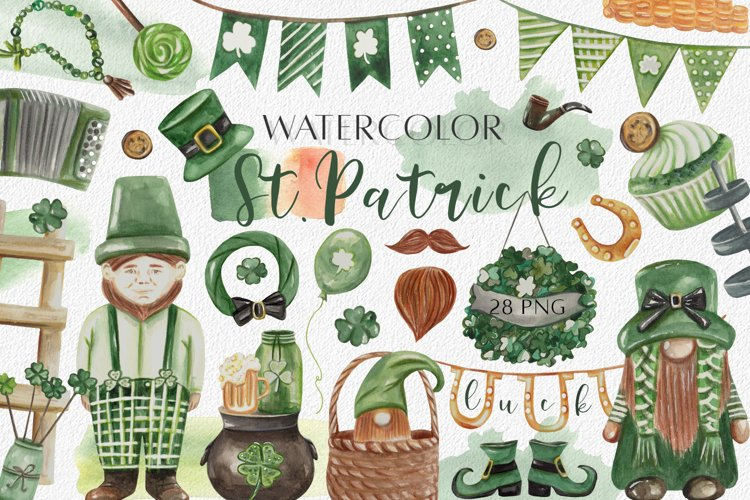 Watercolor St. Patrick Day Clipart. Lucky Gnomes Sublimation