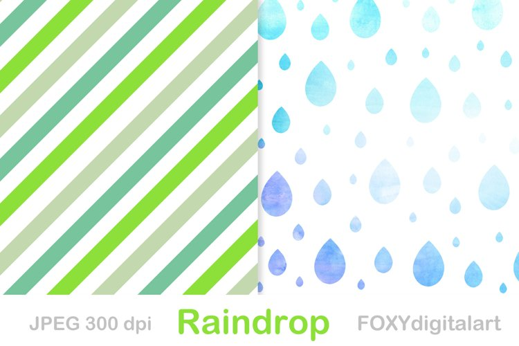 Rain drops digital paper rain shower patterns example image 1