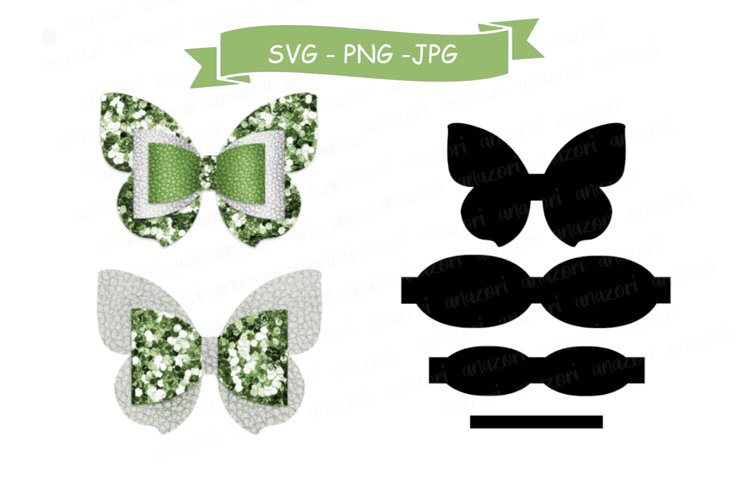Butterfly Bow SVG Cut File, Hair Accessories SVG Template example image 1