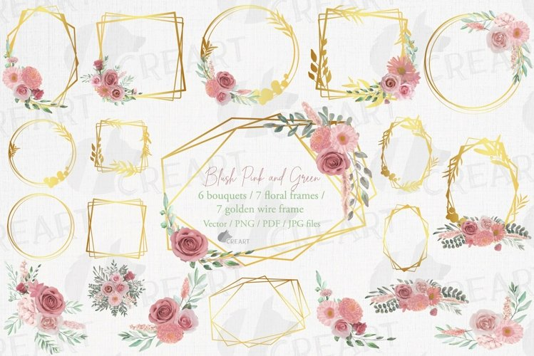 Watercolour blush flowers & green leaves bridal templates. example image 1