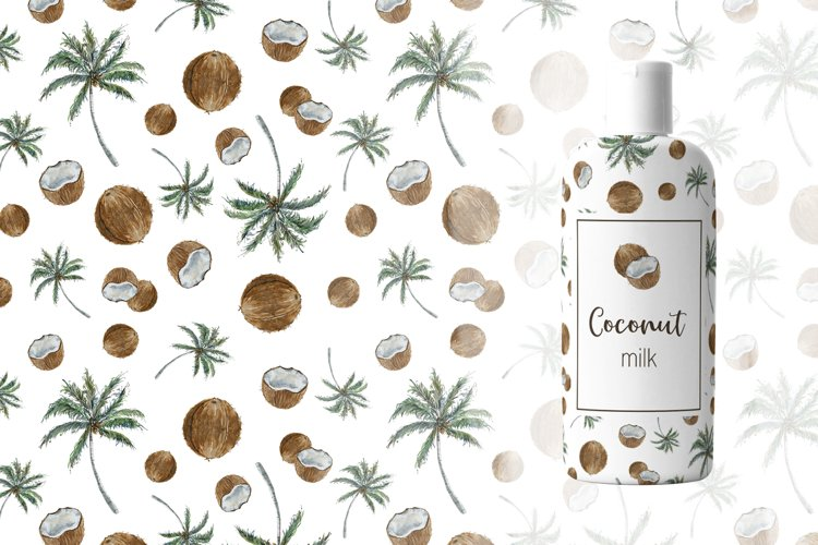 Watercolor Seamless Coconut Patterns