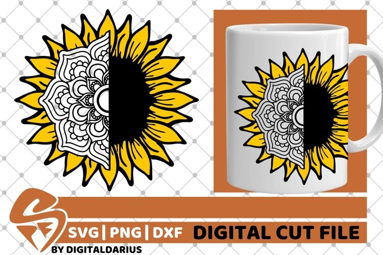 Sunflower Mandala svg, Yellow Flower svg, Zentangle svg, Sun example image 1