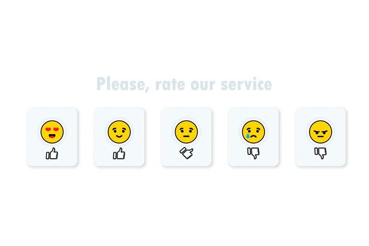 Feedback survey icon set. Five emoticon with hand thumb. example image 1