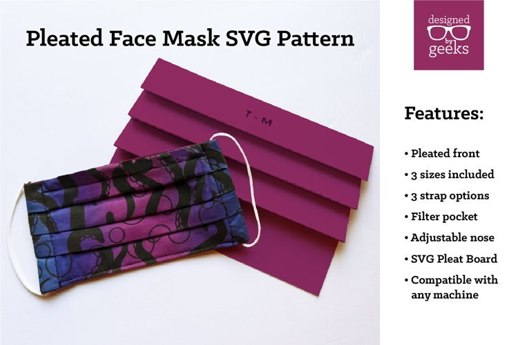 Pleated Face Mask SVG Sewing Pattern with Pleat Board example image 1