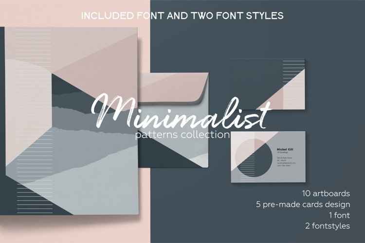 Minimalist pattern collection. Font included. example image 1