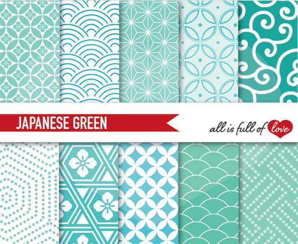 Japanese Backgrounds in Mint Green Digital Graphics Printable