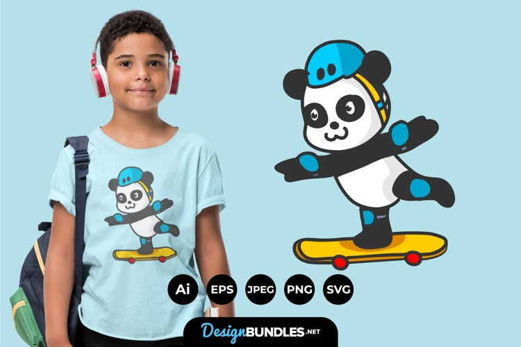 Cute Panda Play Skateboard For T-Shirt Design example image 1