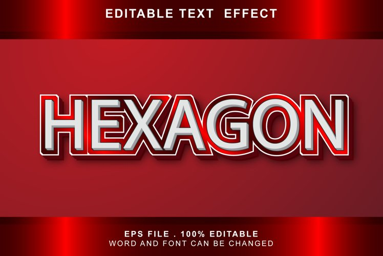 hexagon Text Effects editable words and fonts can be replace