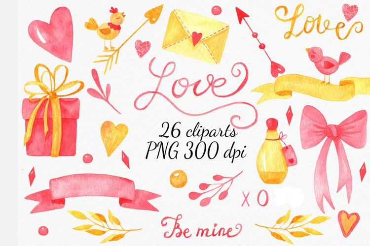 Valentines Day cliparts, pink and gold love graphics