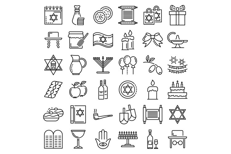 Hanukkah icon set, outline style example image 1