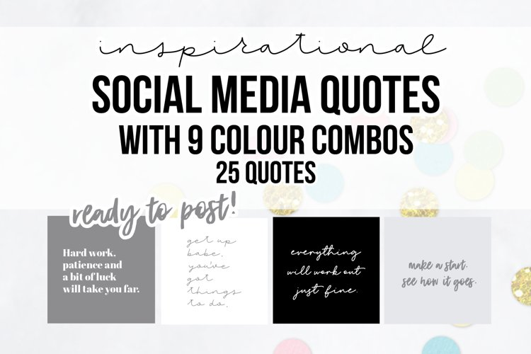 25 x Grey Inspirational Social Media Quotes Pack example image 1