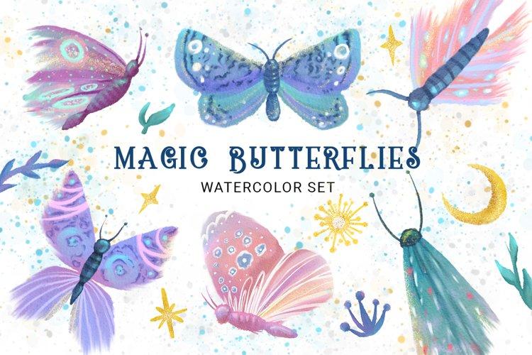 Magic Butterflies Watercolor Clipart