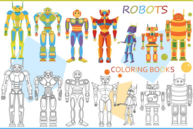 Funny robots. Coloring. example image 1