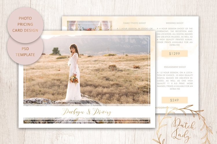 PSD Photography Price Card Template #6 example image 1
