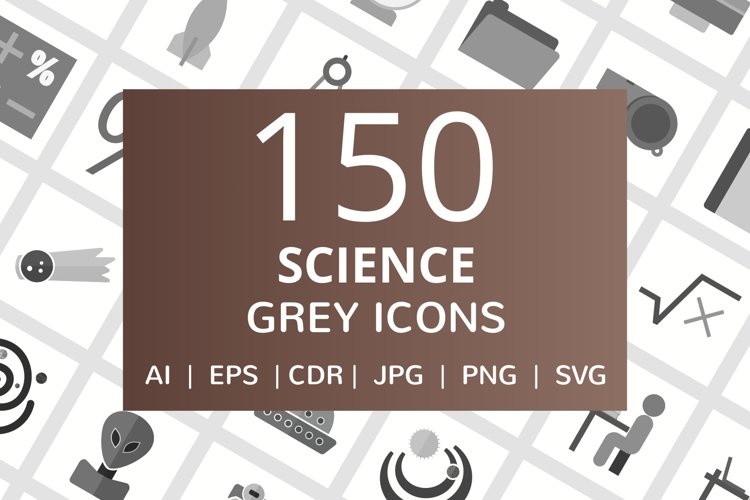 150 Science Flat Greyscale Icons example image 1